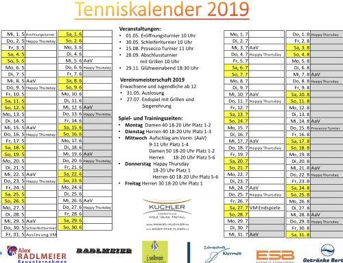 Tenniskalender 2019